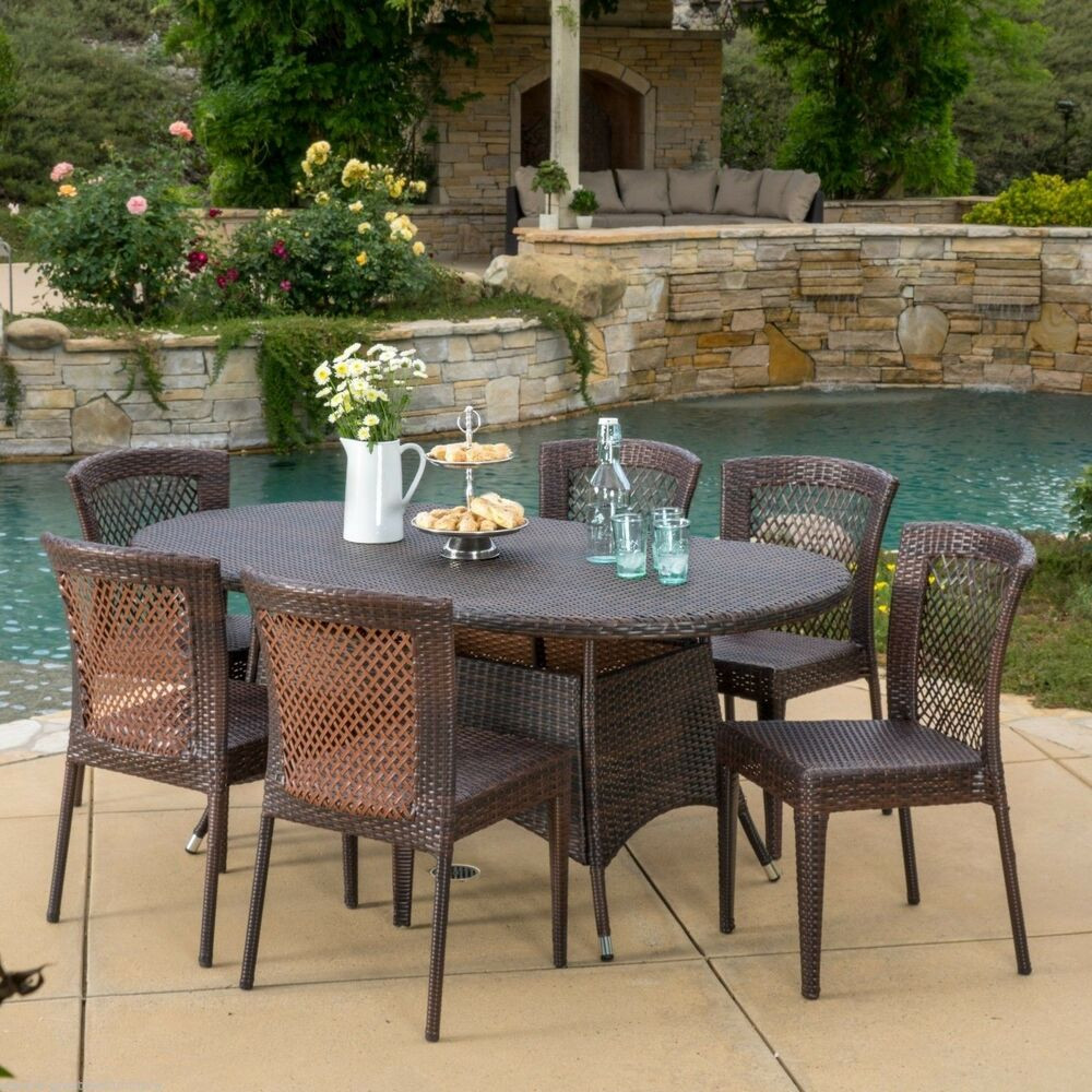 Best ideas about Outdoor Patio Dining Sets . Save or Pin Outdoor Patio Furniture 7pc Multibrown All Weather Wicker Now.