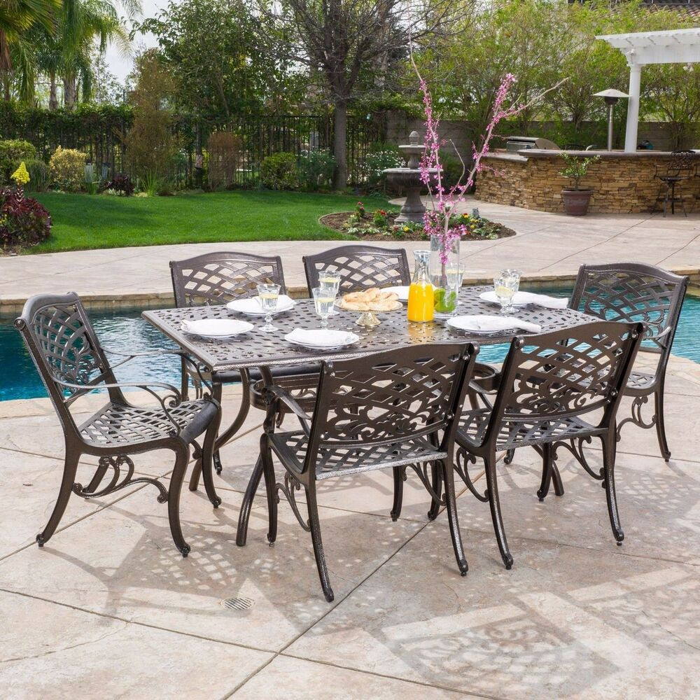 Best ideas about Outdoor Patio Dining Sets . Save or Pin Outdoor 7 piece Cast Aluminum Rectangle Bronze Dining Set Now.