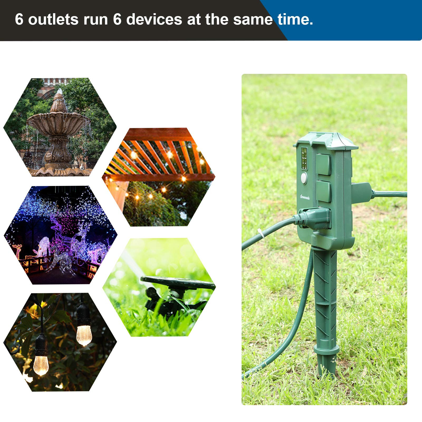 Best ideas about Outdoor Power Strips . Save or Pin DEWENWILS Outdoor Power Strip Weatherproof Stake Timer Now.