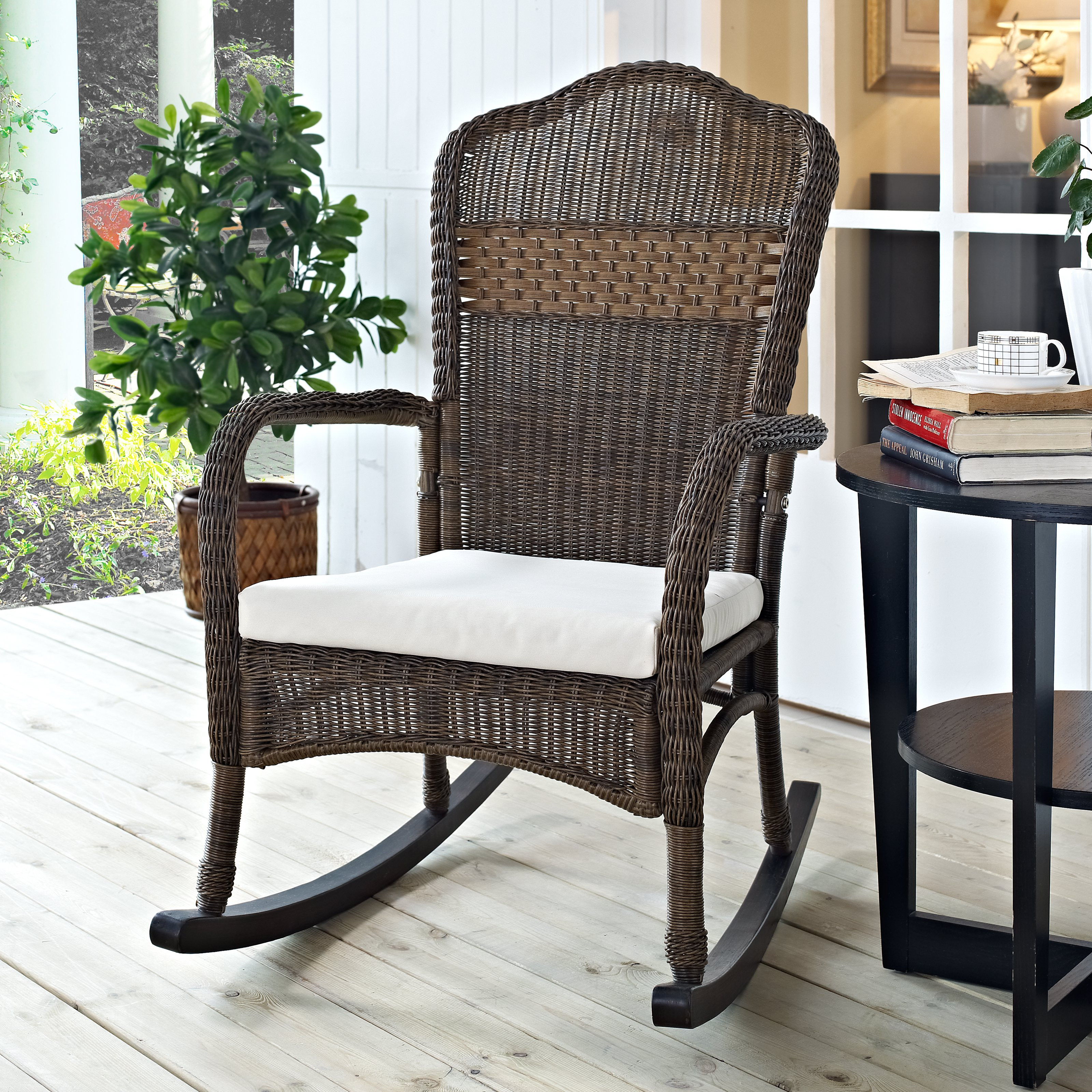 Best ideas about Outdoor Rocking Chairs . Save or Pin Coral Coast Mocha Resin Wicker Rocking Chair with Beige Now.