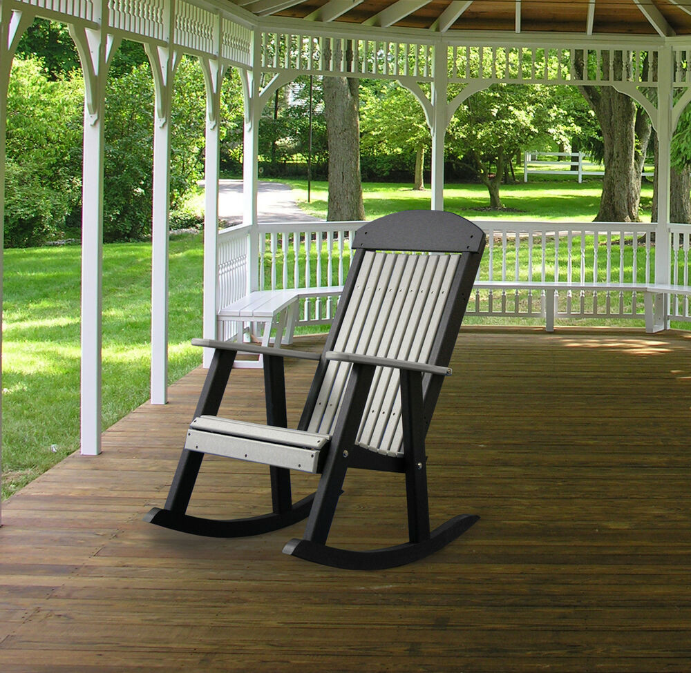 Best ideas about Outdoor Rocking Chairs . Save or Pin Poly Furniture Wood PORCH ROCKER DOVE GRAY & BLACK Now.