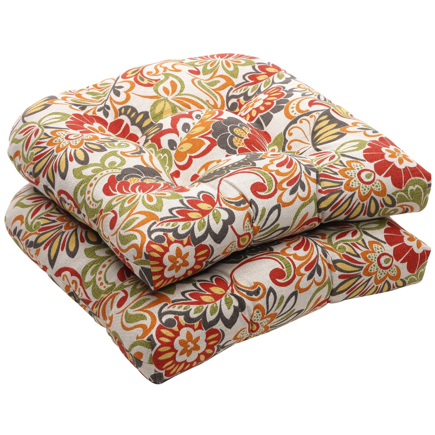 Best ideas about Outdoor Seat Cushions . Save or Pin Outdoor Multicolored Floral Wicker Seat Cushions Set of 2 Now.