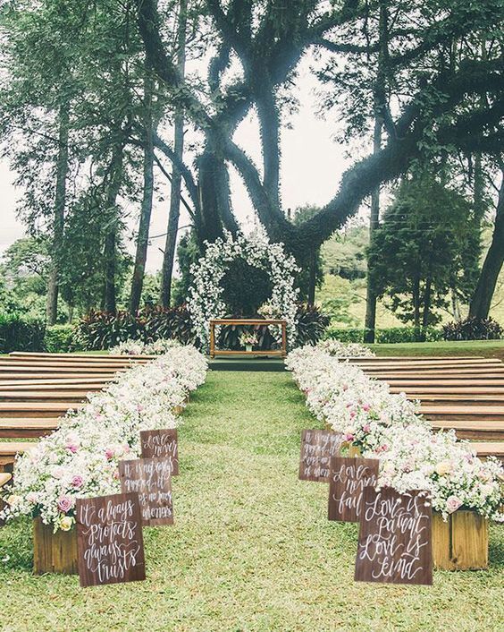 Best ideas about Outdoor Wedding Decorations . Save or Pin 29 Awesome Wedding Aisle Decorations for Fall Wedding Now.
