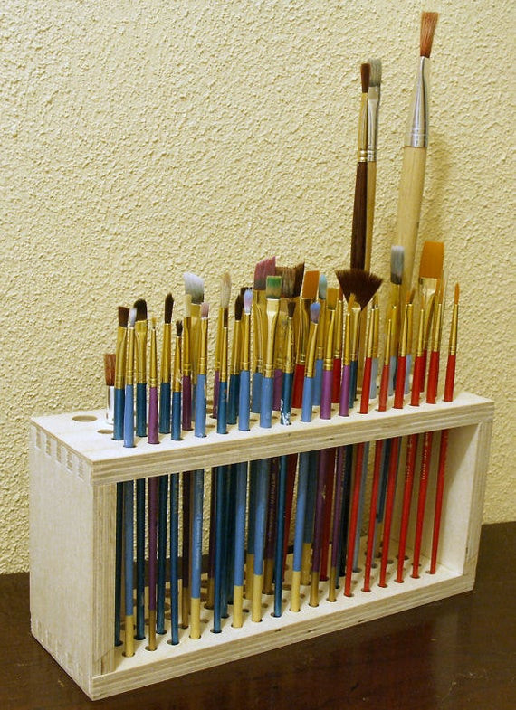 Best ideas about Paint Brush Holder DIY . Save or Pin Wooden Paintbrush Holder for Craft Brushes Now.