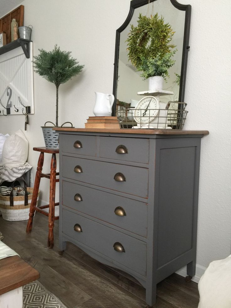 Best ideas about Painted Bedroom Furniture Ideas . Save or Pin Charcoal Gray Dresser with a Sweet Little Note Now.
