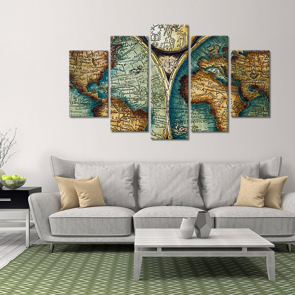 Best ideas about Panel Wall Art . Save or Pin Antique World Map Multi Panel Canvas Wall Art – ElephantStock Now.