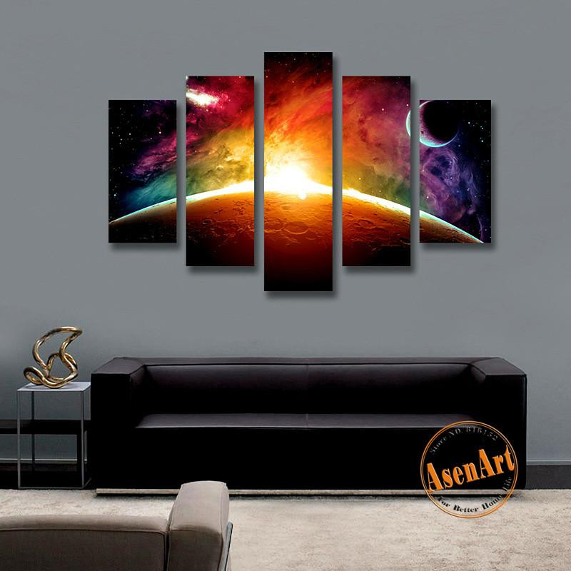 Best ideas about Panel Wall Art . Save or Pin Amazing Outer Space Painting Star Moon 5 Panel Wall Art Now.