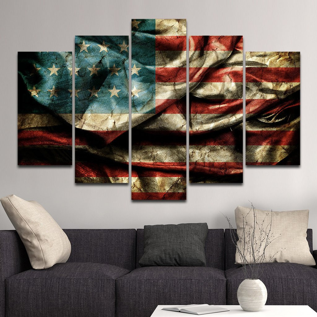Best ideas about Panel Wall Art . Save or Pin Vintage Windy American Flag Multi Panel Canvas Wall Art Now.