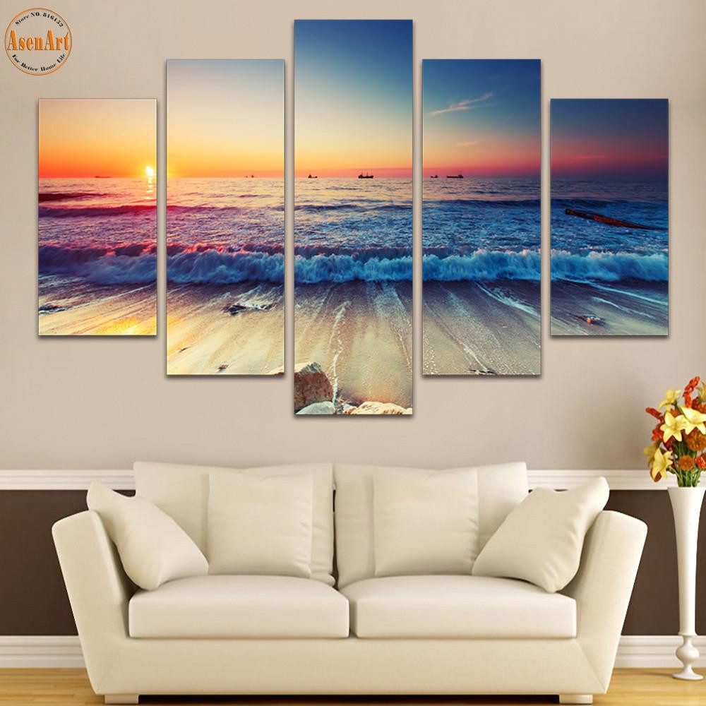 Best ideas about Panel Wall Art . Save or Pin 5 Panel Wall Art Seaside Landscape Painting Sunset Now.