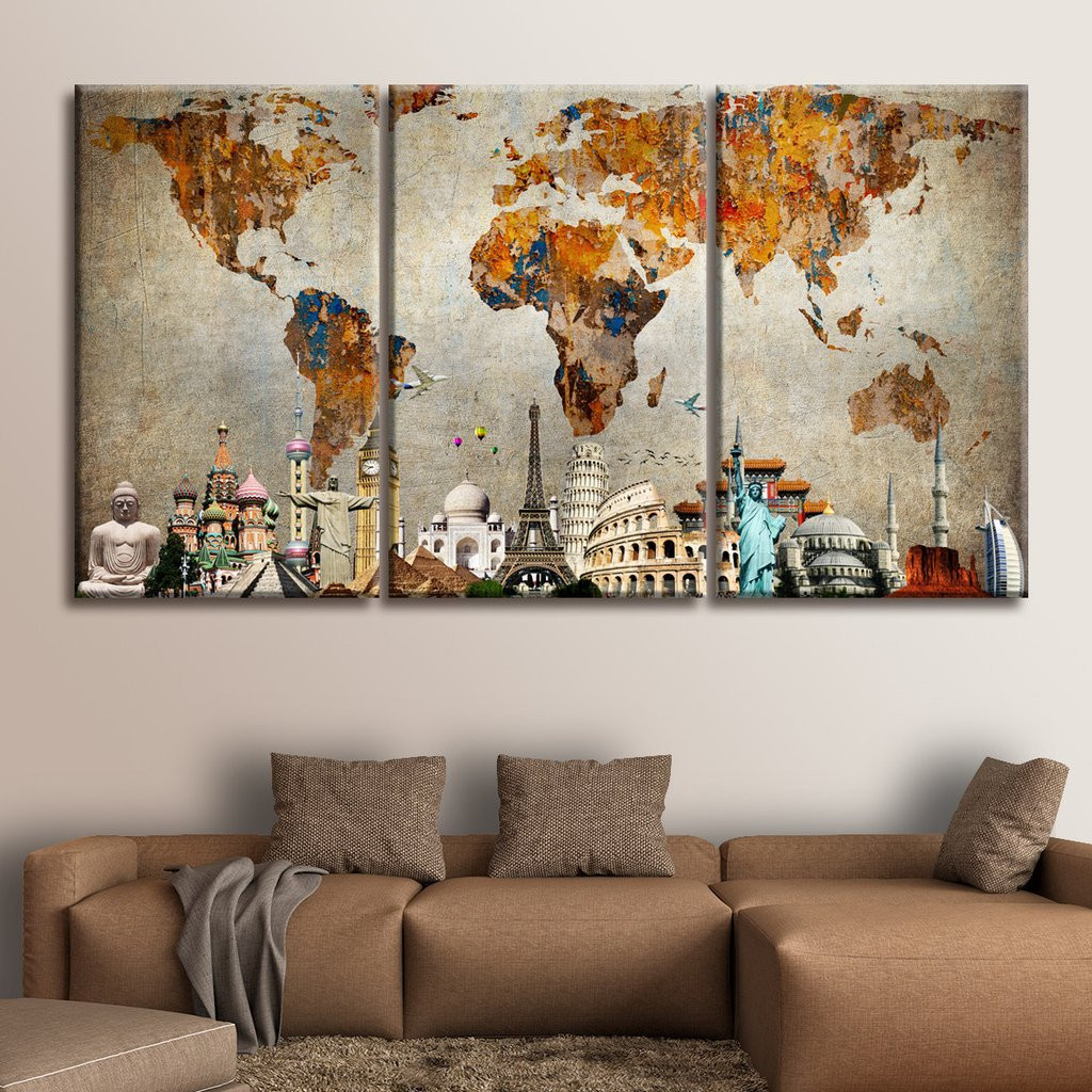 Best ideas about Panel Wall Art . Save or Pin Colorful World Map Masterpiece Multi Panel Canvas Wall Art Now.