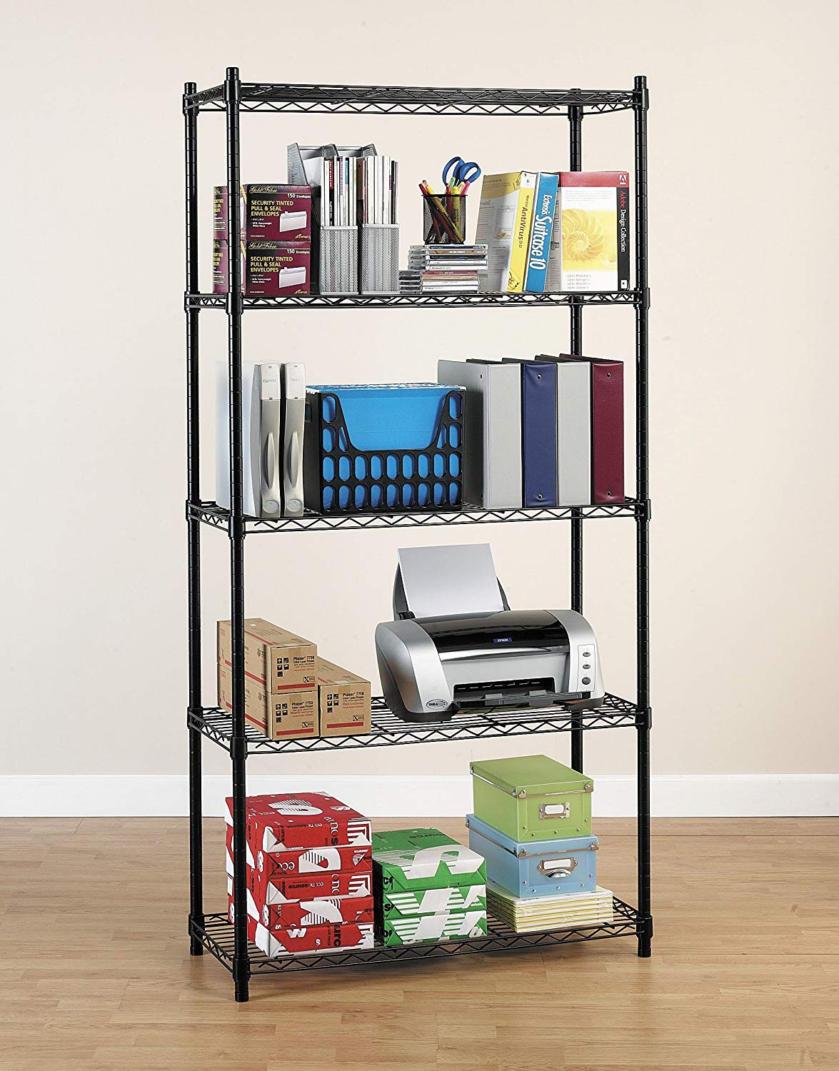 Best ideas about Pantry Shelving Units . Save or Pin New Shelving Unit 5 Tier Metal Racks Kit For fice Garage Now.