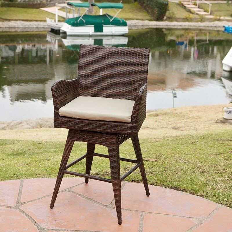 Best ideas about Patio Bar Stools . Save or Pin Outdoor Patio Furniture All Weather Brown PE Wicker Swivel Now.
