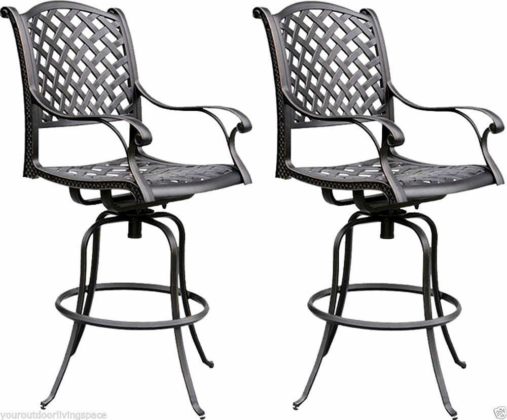 Best ideas about Patio Bar Stools . Save or Pin Bar stools set of 2 Outdoor Barstool cast aluminum Swivel Now.