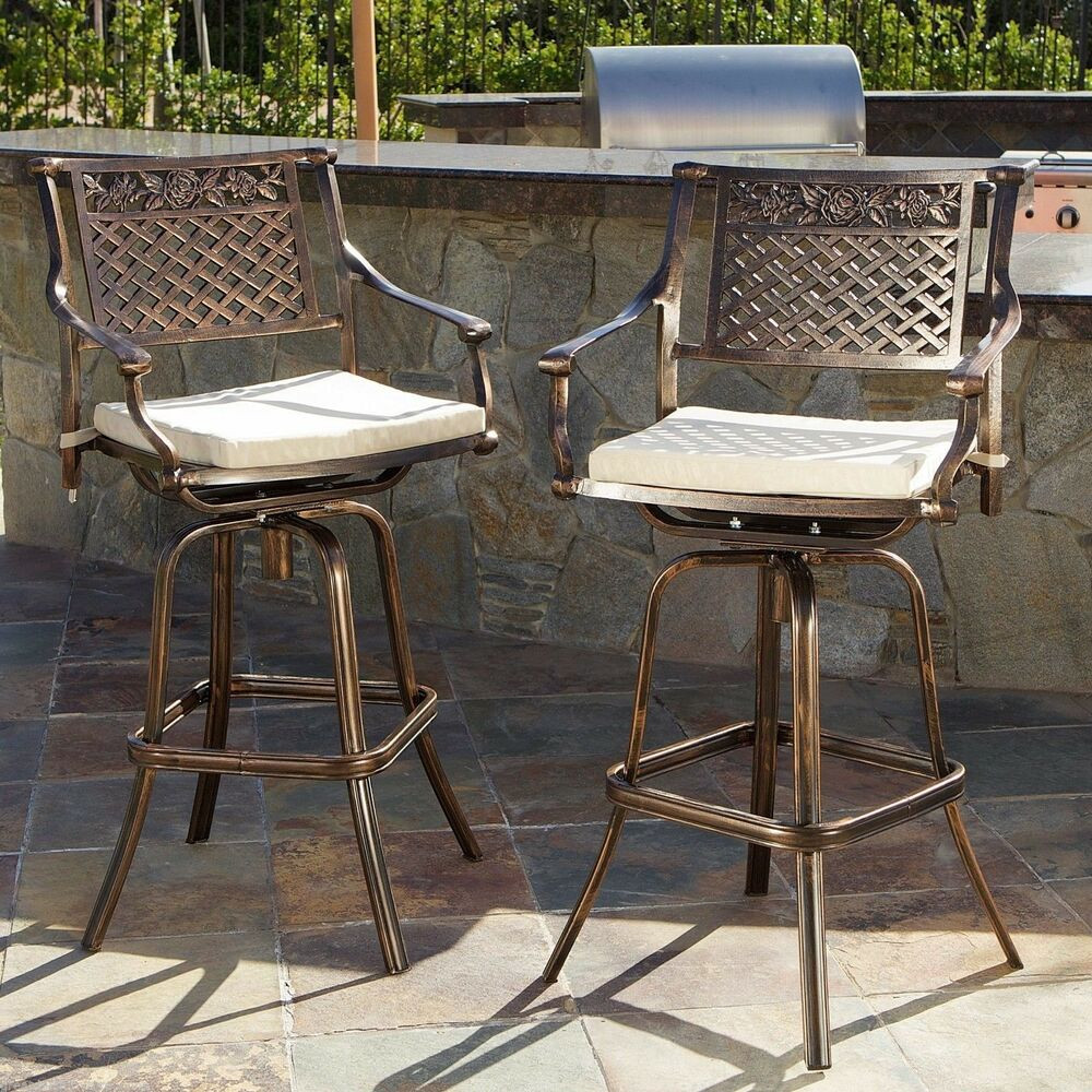 Best ideas about Patio Bar Stools . Save or Pin Set of 2 Outdoor Patio Furniture Cast Aluminum Swivel Bar Now.