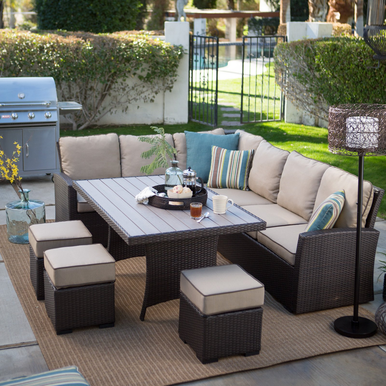 Best ideas about Patio Dining Set . Save or Pin Belham Living Monticello All Weather Wicker Sofa Sectional Now.