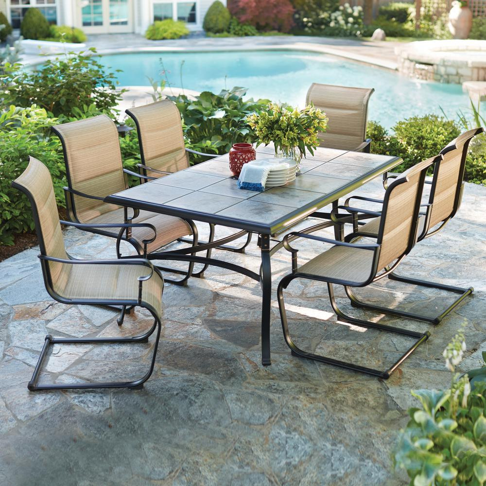 Best ideas about Patio Dining Set . Save or Pin Hampton Bay Belleville 7 Piece Padded Sling Outdoor Dining Now.