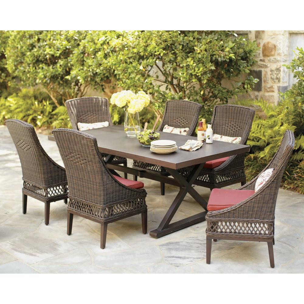 Best ideas about Patio Dining Set . Save or Pin Hampton Bay Woodbury 7 Piece Wicker Outdoor Patio Dining Now.