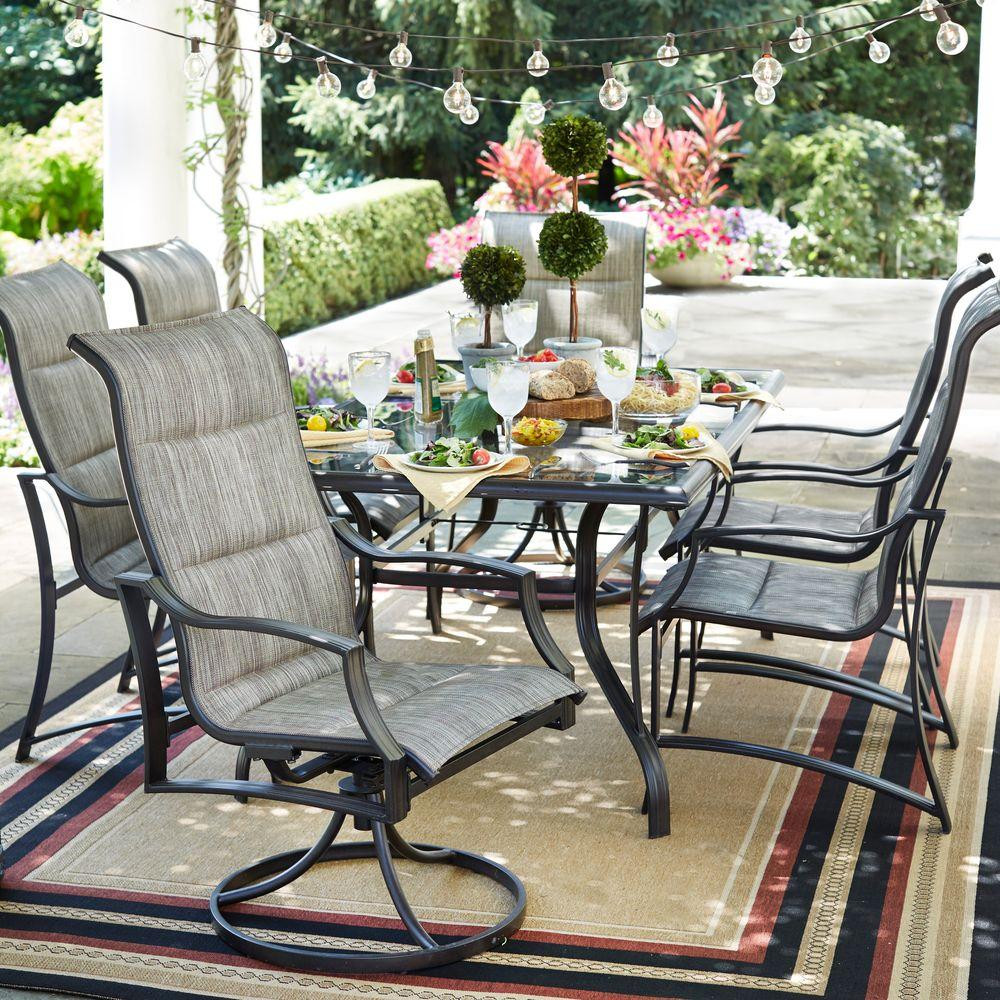 Best ideas about Patio Dining Set . Save or Pin Hampton Bay Statesville Pewter 7 Piece Aluminum Outdoor Now.