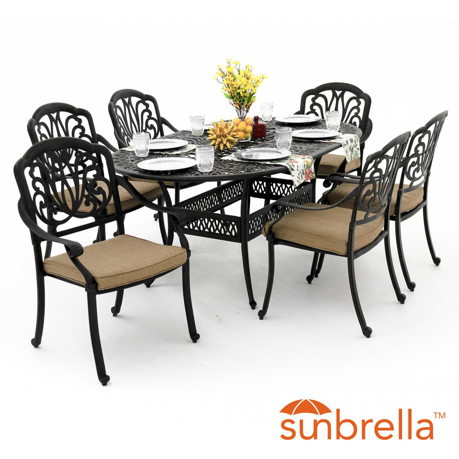 Best ideas about Patio Dining Table Clearance . Save or Pin Rosedown Piece Cast Aluminum Patio Dining Set With X Inch Now.