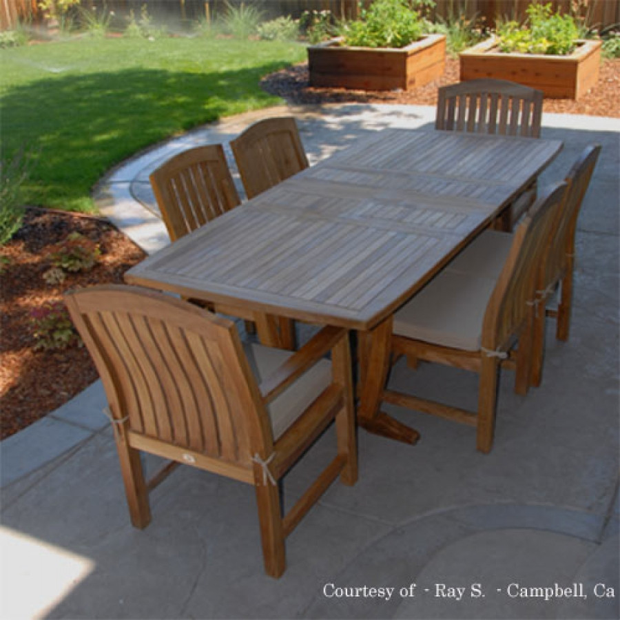 Best ideas about Patio Dining Table Clearance . Save or Pin Teak Outdoor Patio Dining Set Agean Table & Zaire Chair Now.