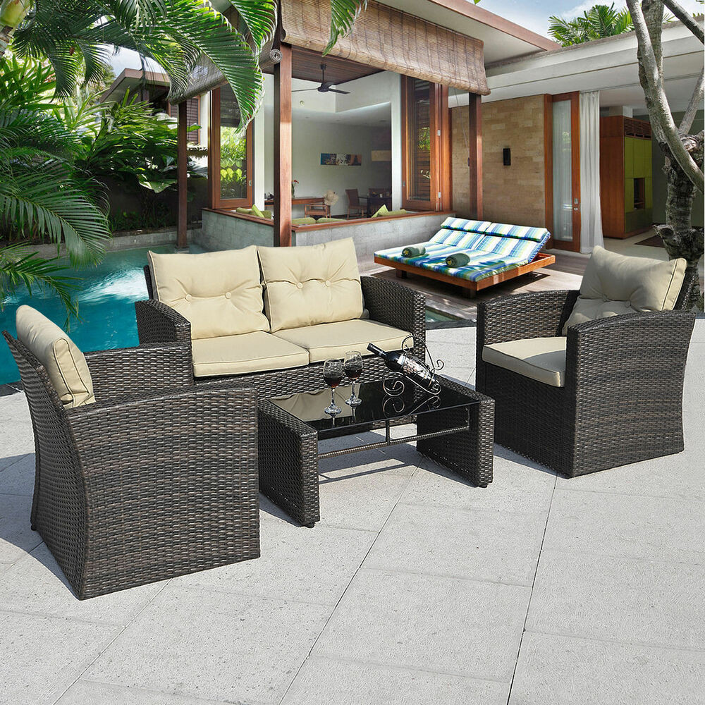 Best ideas about Patio Furniture Sets . Save or Pin 4PCS Gra nt Brown Wicker Cushioned Patio Set Garden Sofa Now.
