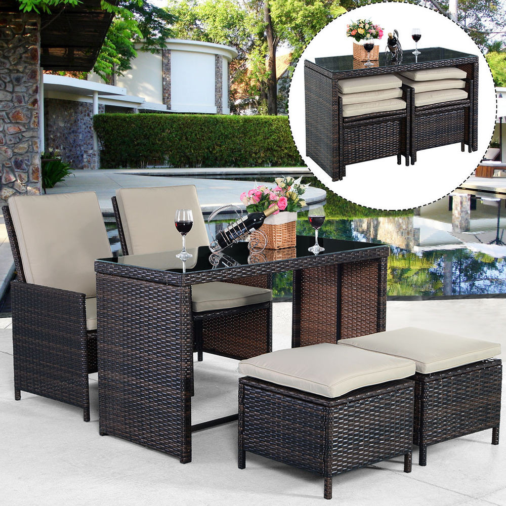 Best ideas about Patio Furniture Sets . Save or Pin New 5PCS Brown Cushioned Ottoman Rattan Patio Set Outdoor Now.