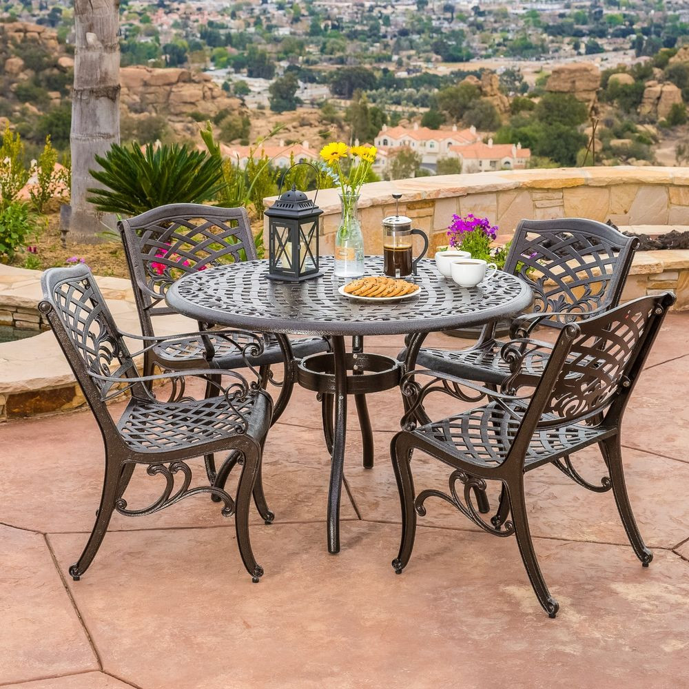 Best ideas about Patio Furniture Sets . Save or Pin Outdoor Patio Furniture 5pcs Bronze Cast Aluminum Dining Now.