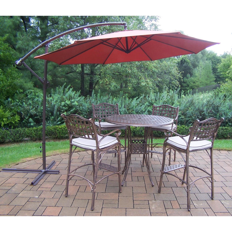Best ideas about Patio Set With Umbrella . Save or Pin Oakland Living Elite Cast Aluminum 5 Piece Patio Bar Set Now.