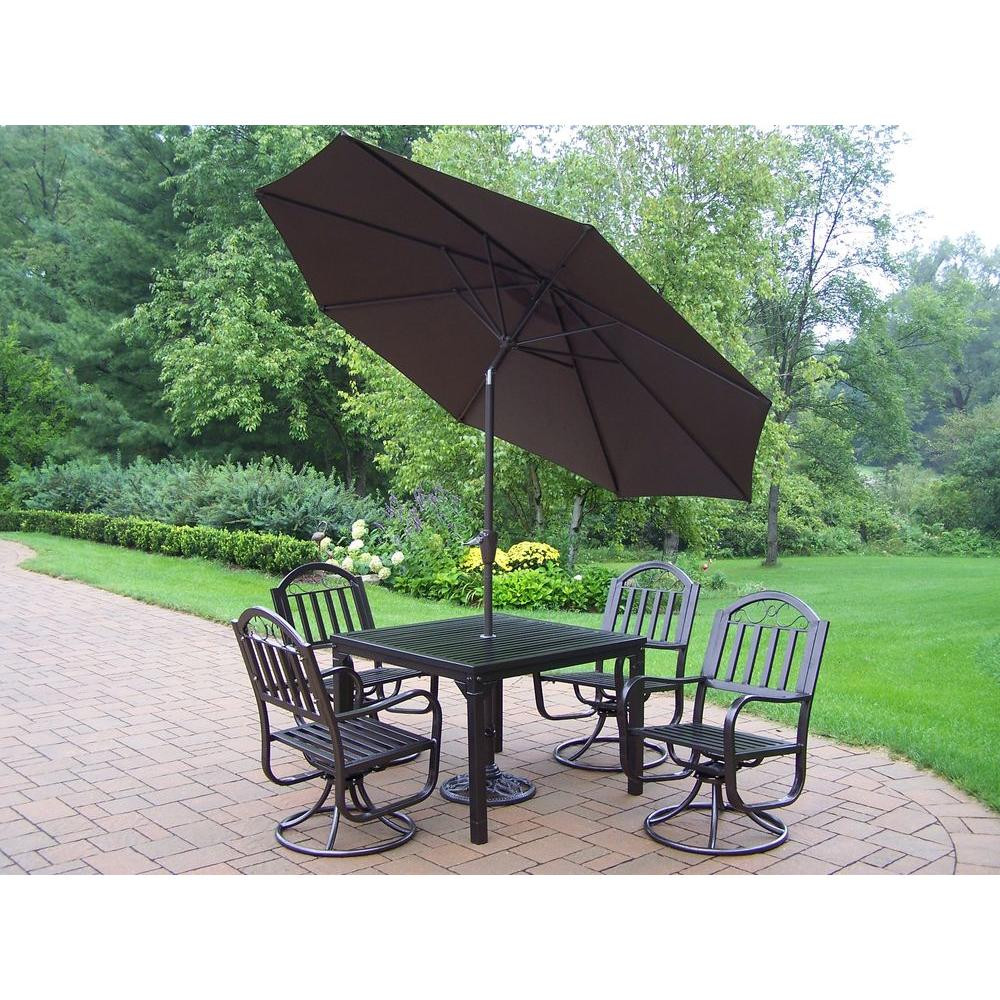 Best ideas about Patio Set With Umbrella . Save or Pin Oakland Living Rochester 5 Piece Patio Swivel Dining Set Now.