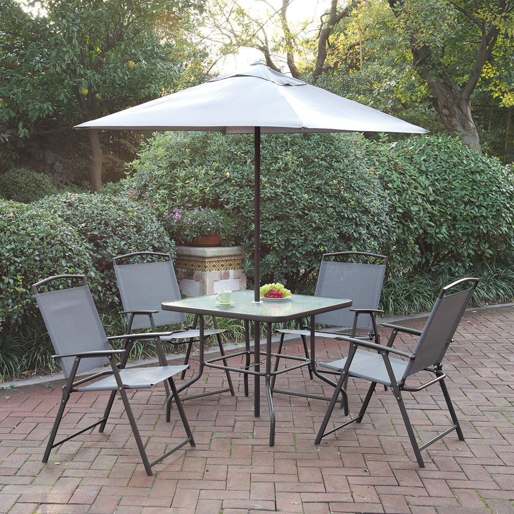Best ideas about Patio Set With Umbrella . Save or Pin Outdoor Patio Furniture Dining Set Cream Umbrella Foldable Now.