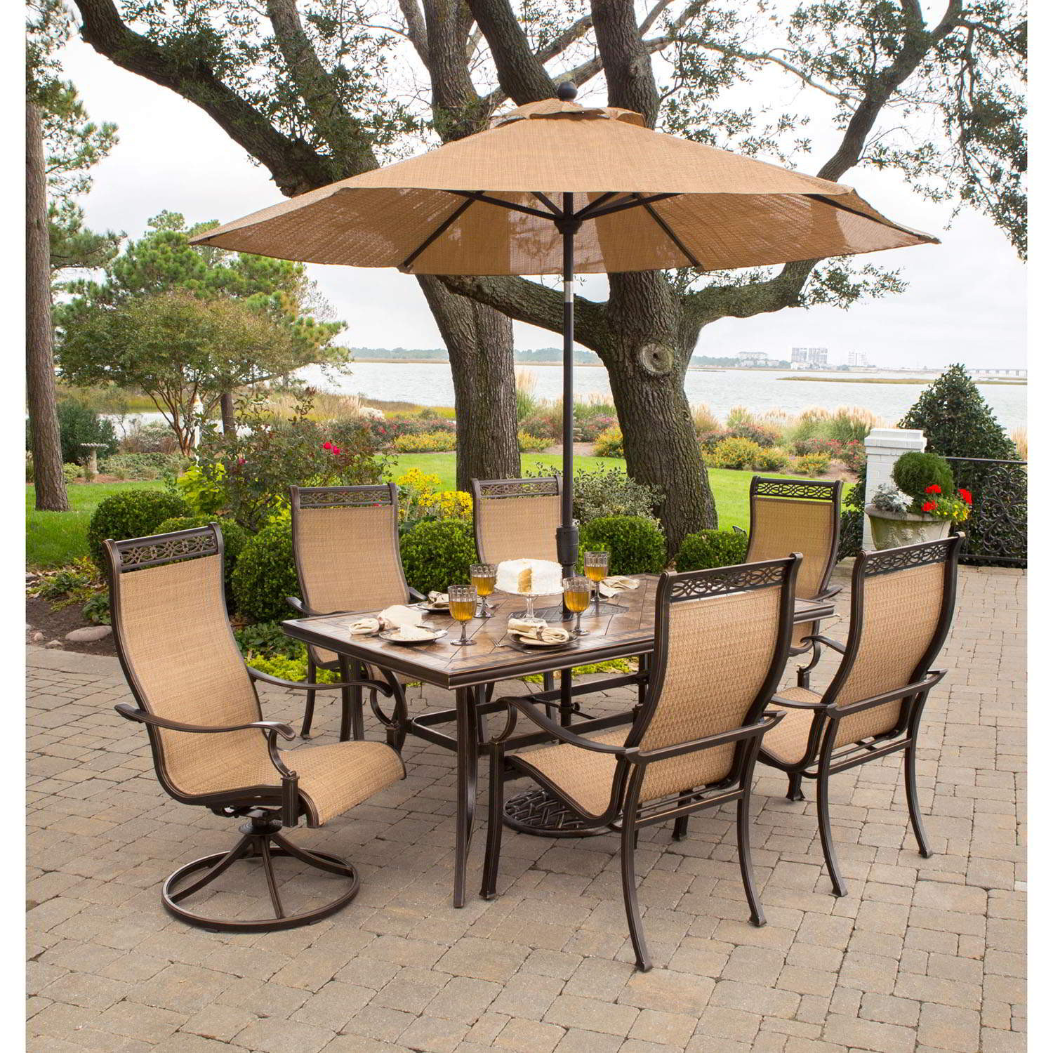 Best ideas about Patio Set With Umbrella . Save or Pin Monaco 7 Piece Dining Set with 9 Ft Table Umbrella Now.