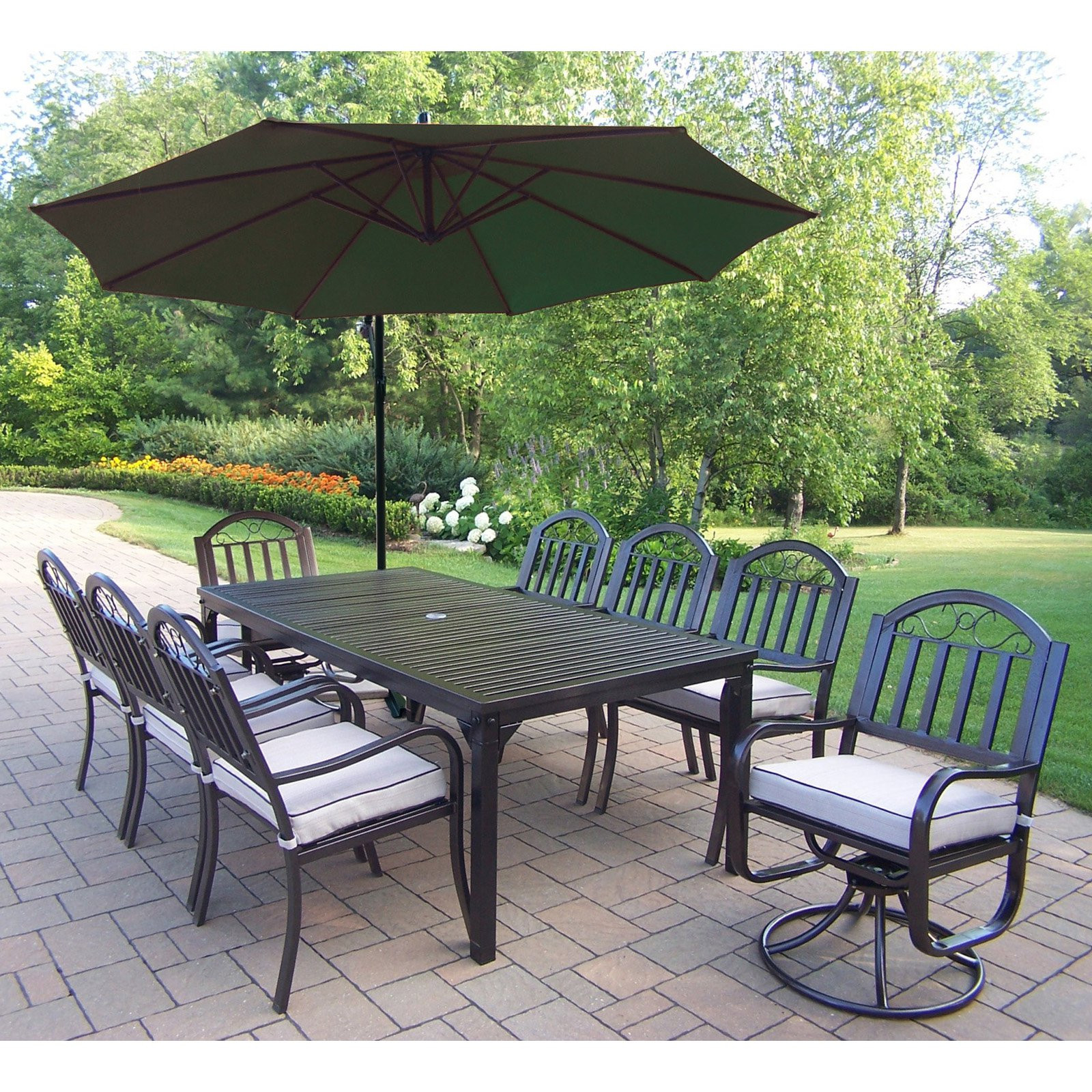 Best ideas about Patio Set With Umbrella . Save or Pin Oakland Living Rochester 80 x 40 in Patio Dining Set with Now.