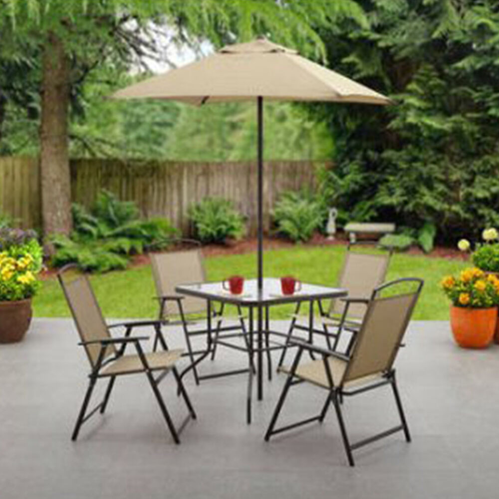 Best ideas about Patio Set With Umbrella . Save or Pin 6 Piece Patio Dining Set Folding Table Chairs Umbrella Now.