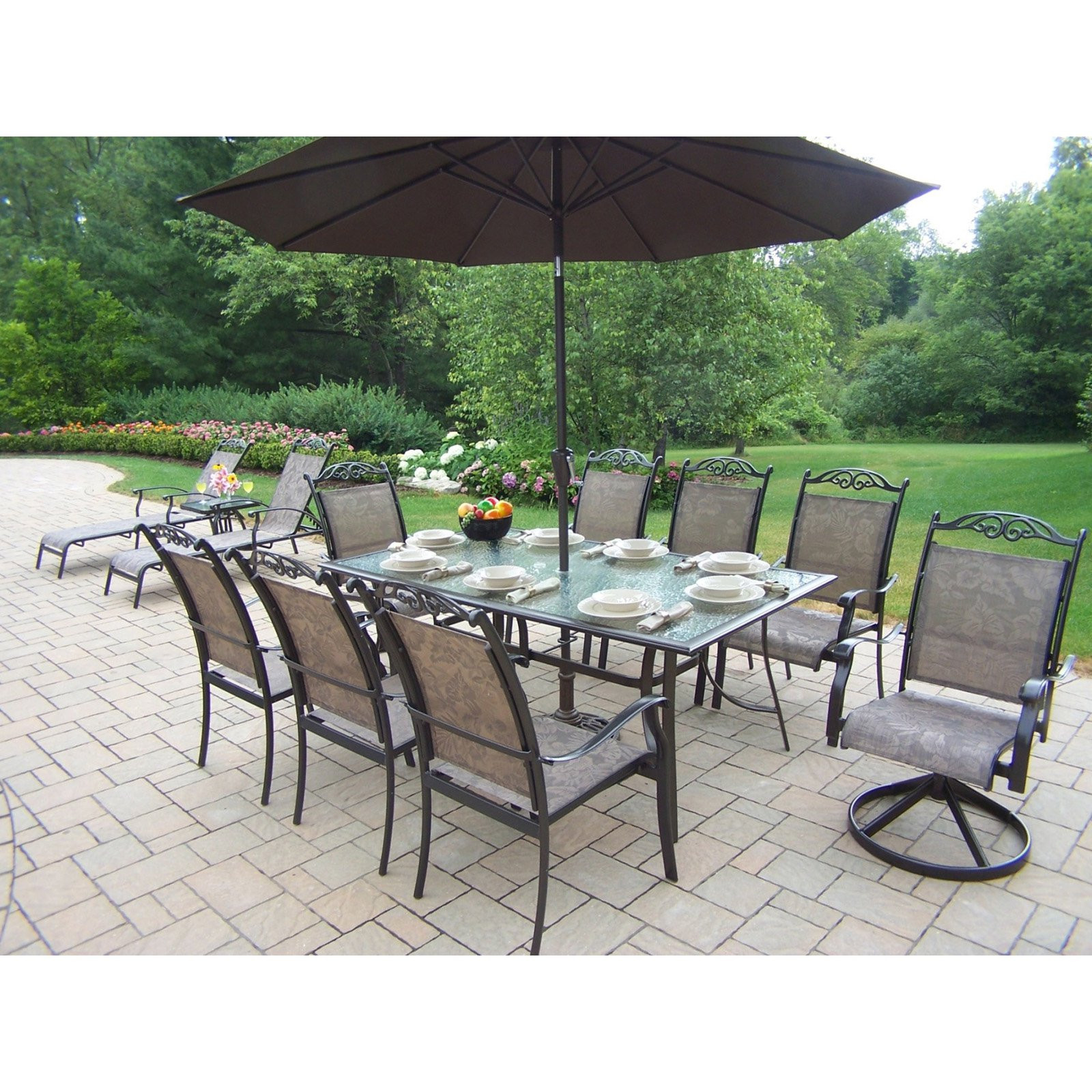 Best ideas about Patio Set With Umbrella . Save or Pin Oakland Living Cascade Patio Dining Set with Umbrella and Now.