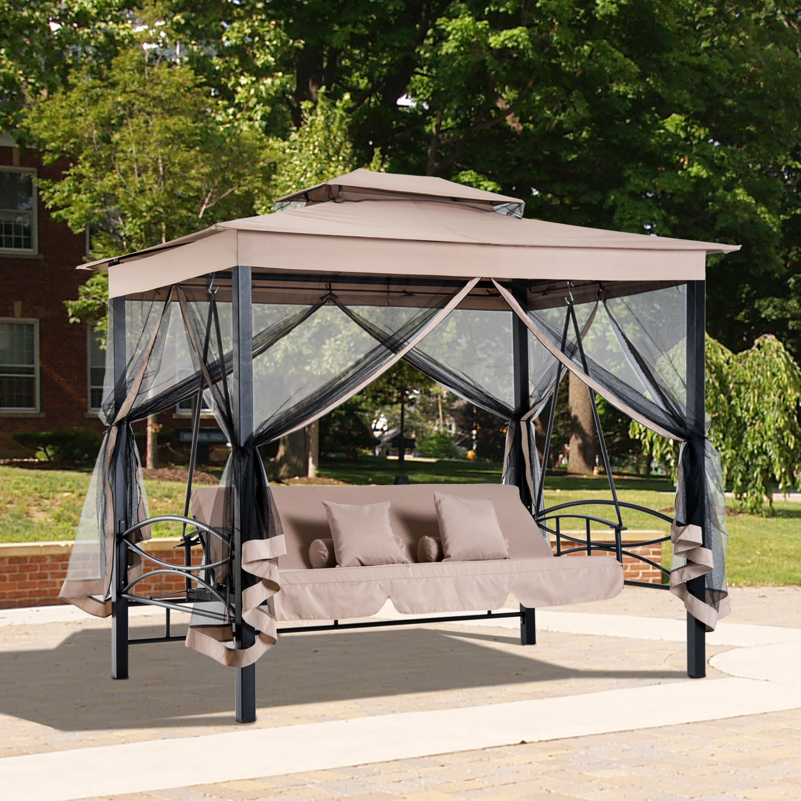 Best ideas about Patio Swing With Canopy . Save or Pin 3 in 1 Patio Swing Gazebo Canopy Daybed Hammock Canopy Now.
