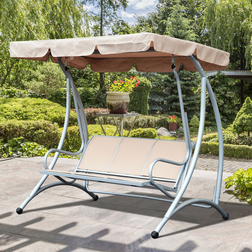 Best ideas about Patio Swing With Canopy . Save or Pin 3 Person Outdoor Swing Seat Patio Hammock Furniture Bench Now.