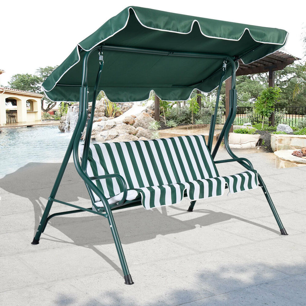 Best ideas about Patio Swing With Canopy . Save or Pin 3 Person Patio Swing Outdoor Canopy Awning Yard Furniture Now.