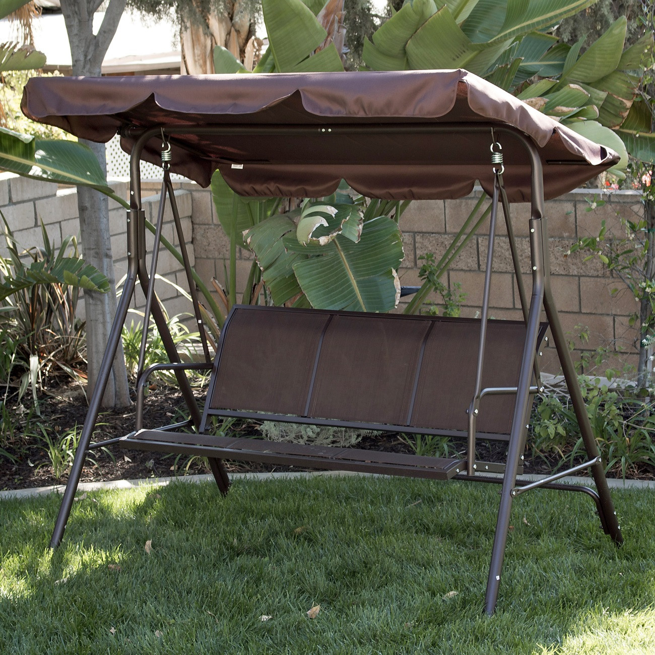 Best ideas about Patio Swing With Canopy . Save or Pin 3 Person Patio Swing Outdoor Canopy Tilt Awning Yard Now.