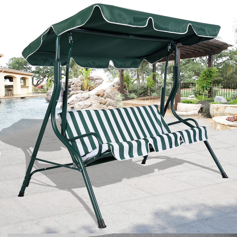Best ideas about Patio Swing With Canopy . Save or Pin Green Outdoor Patio Swing Canopy 3 Person Awning Yard Now.