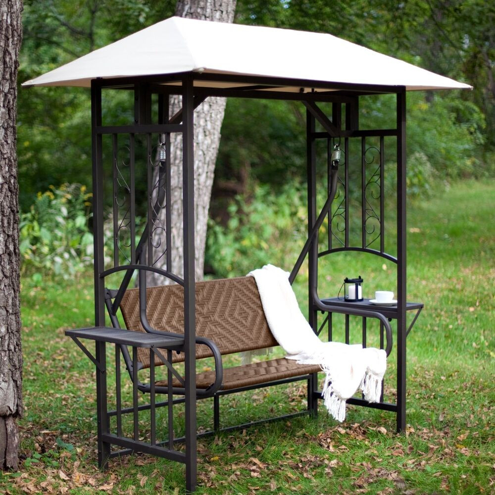 Best ideas about Patio Swing With Canopy . Save or Pin 2 Person Gazebo Swing Patio Backyard Shade Canopy Deck Now.