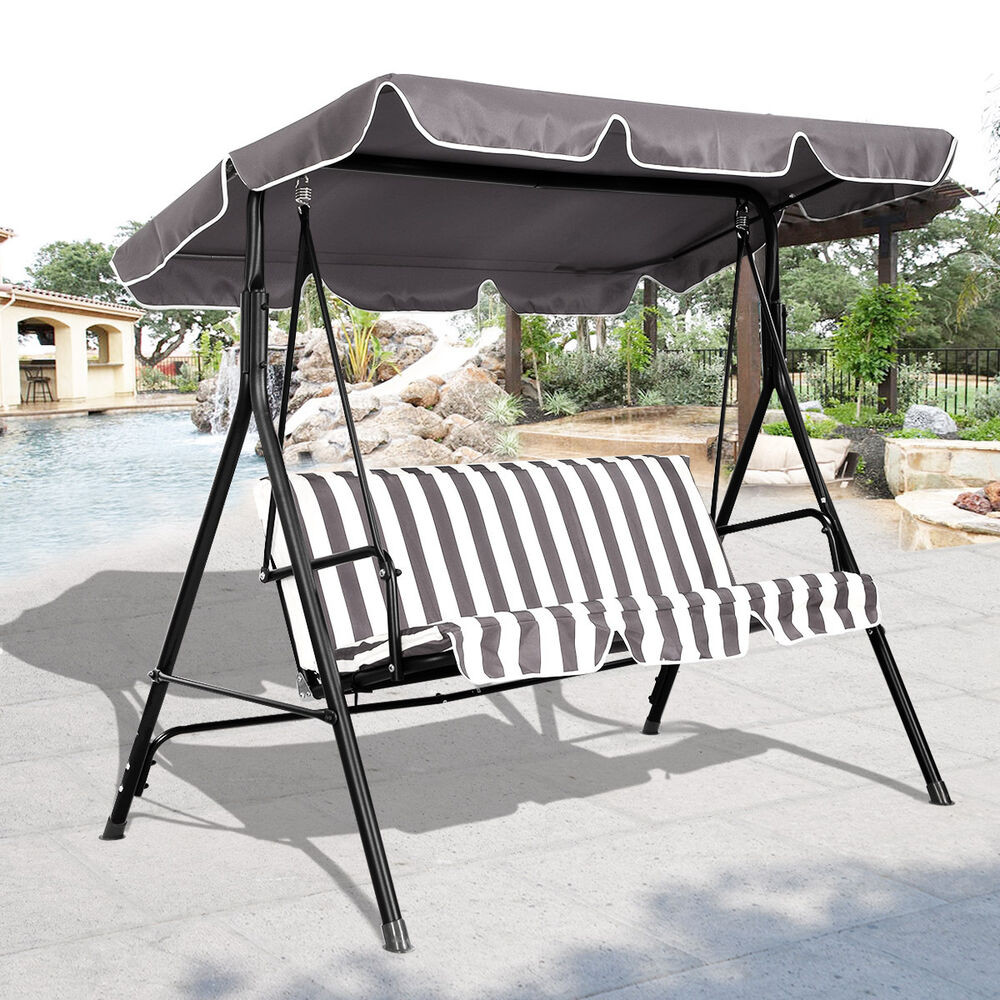 Best ideas about Patio Swing With Canopy . Save or Pin 3 Person Swing Outdoor Patio Canopy Awning Yard Furniture Now.