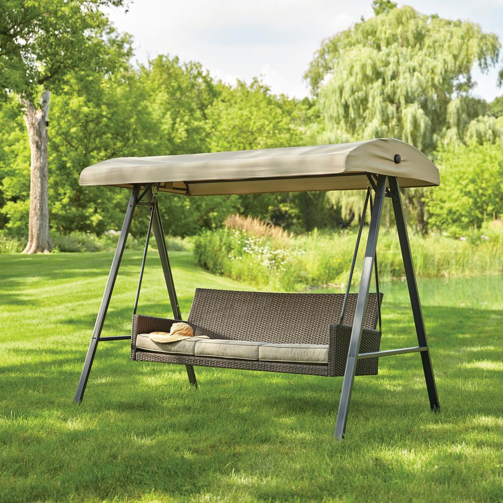 Best ideas about Patio Swing With Canopy . Save or Pin Hampton Bay Plaistow 3 Person Wicker Outdoor Swing with Now.