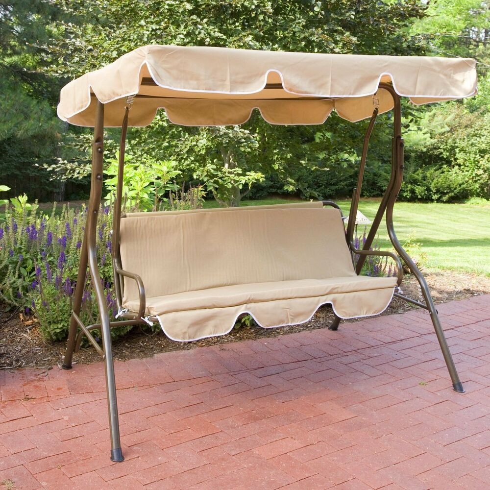 Best ideas about Patio Swing With Canopy . Save or Pin Outdoor Patio Swing Bench Yard Deck Glider Porch Canopy Now.
