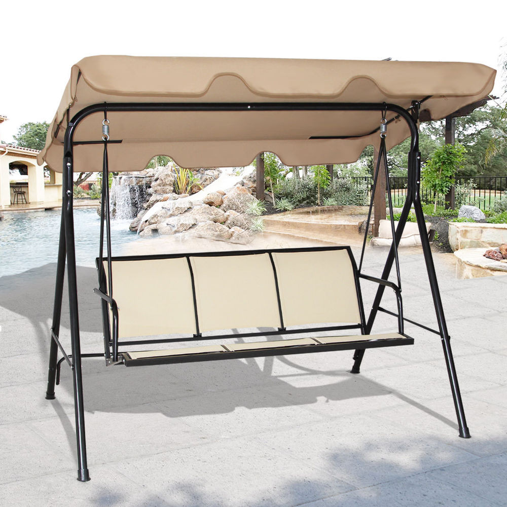 Best ideas about Patio Swing With Canopy . Save or Pin COSTWAY 3 Person Patio Swing Outdoor Canopy Awning Yard Now.