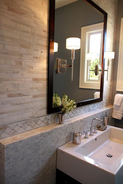 Best ideas about Pictures For Bathroom . Save or Pin Bathroom Backsplash Marble Shelf Contemporary Bathroom Now.
