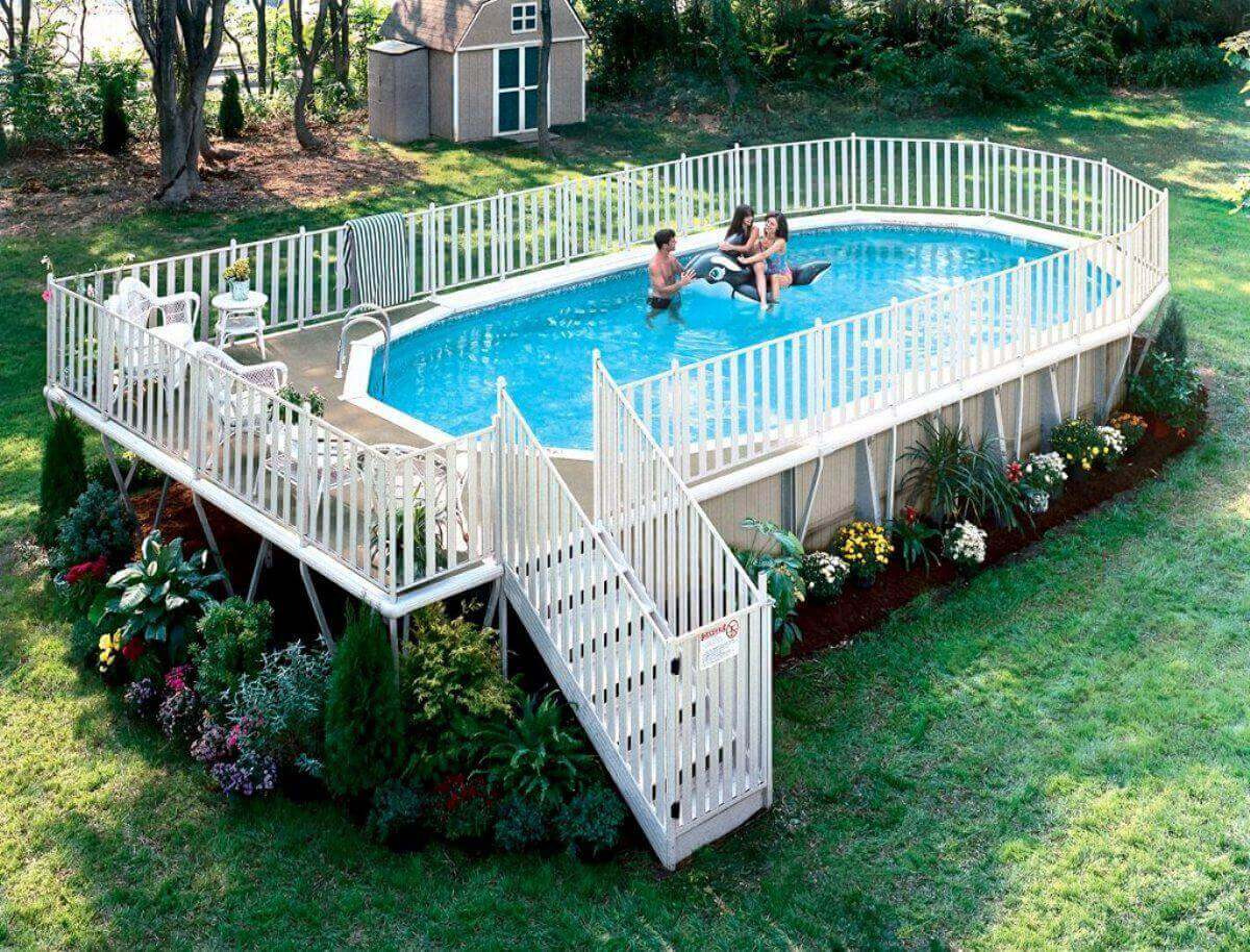 Best ideas about Pool Decks For Above Ground Pools . Save or Pin Oval Ground Pools Now.