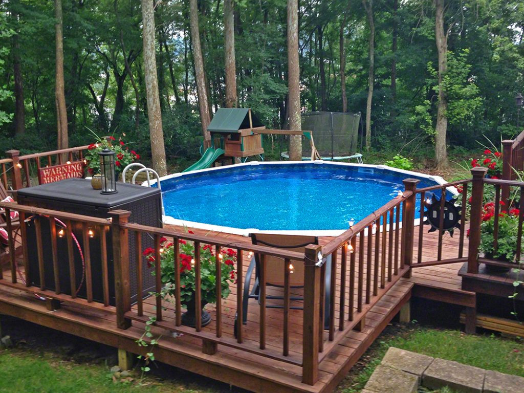 Best ideas about Pool Decks For Above Ground Pools . Save or Pin Pool Deck Ideas Partial Deck The Pool Factory Now.