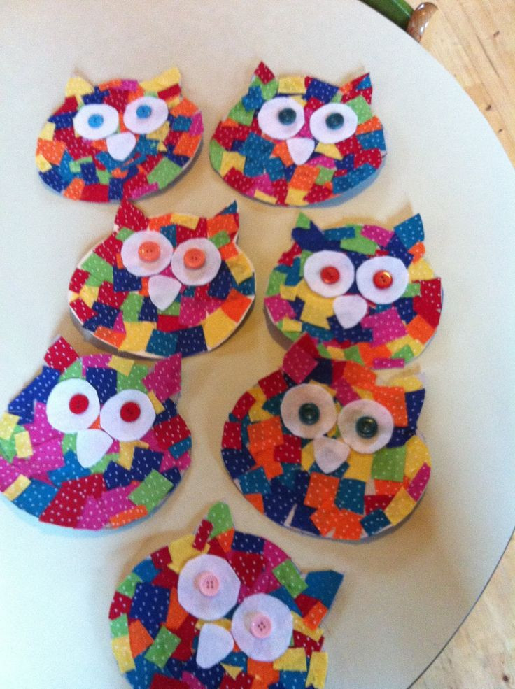 Best ideas about Preschoolers Arts And Crafts Ideas . Save or Pin Cardboard owl cutout Small fabric squares glued on to Now.