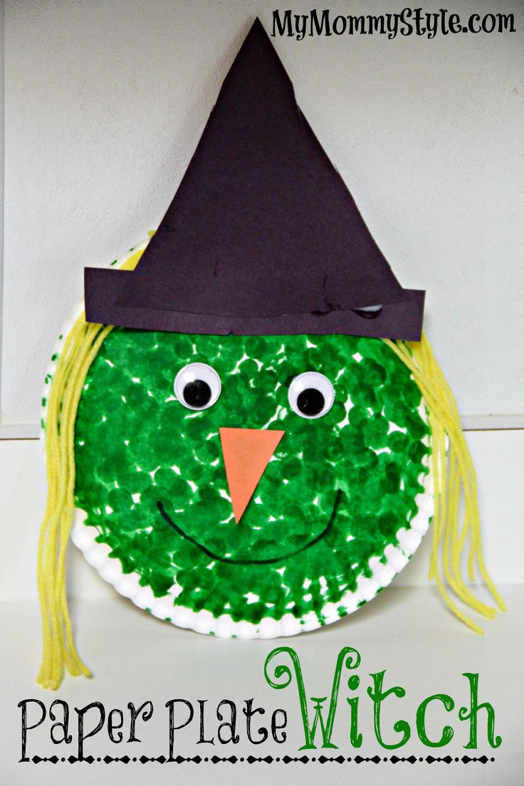 Best ideas about Preschoolers Arts And Crafts Ideas . Save or Pin Paper plate witch project for kids Halloween Now.