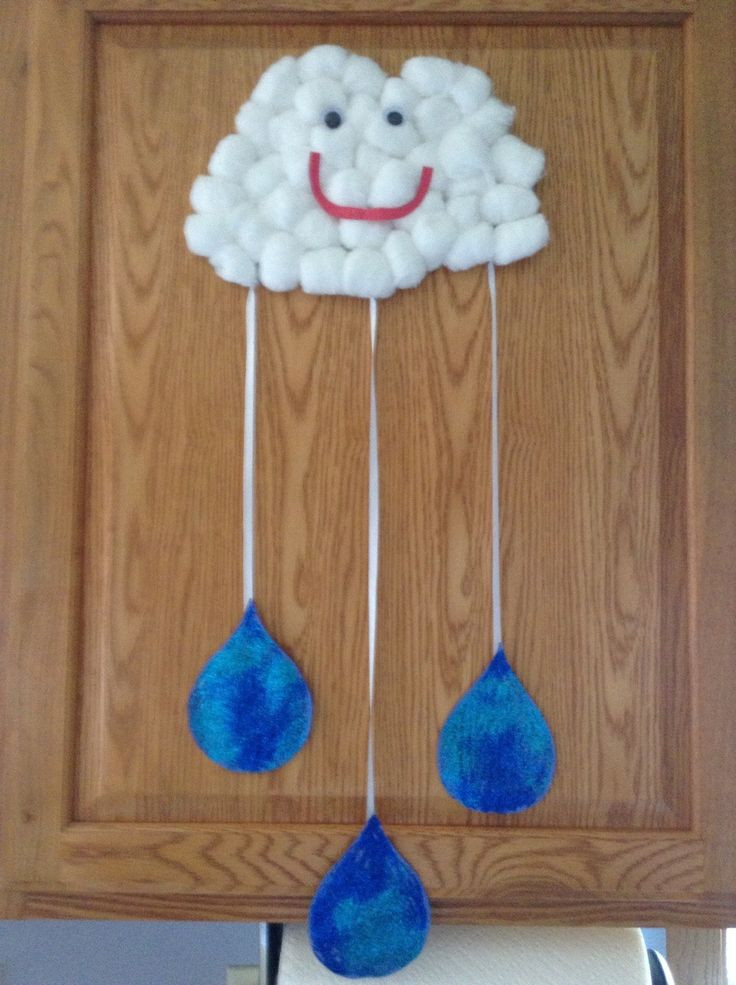 Best ideas about Preschoolers Arts And Crafts Ideas . Save or Pin Cotton ball cloud and rain drops…we will make a few more Now.